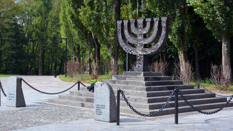 A memorial at Babi Yar in Ukraine, the site of a September 1941 massacre carried out by German forces and Ukrainian collaborators during their campaign against the Soviet Union in World War II. Credit: Meunierd/Shutterstock.