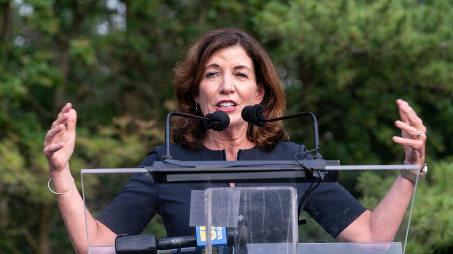 """New York Gov. Kathy Hochul speaks at a """"Westchester Stands United Against Anti-Semitism and Hate"""" rally at the Jewish Community Center of Mid-Westchester. Credit: Lev Radin/Shutterstock."""