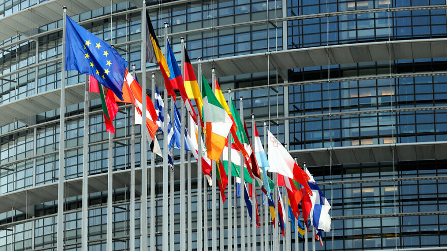 Flags with European Parliament in background Strasbourg, France. Credit: Hadrian/Shutterstock.